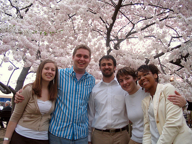 Students in D.C. with cherry blossoms