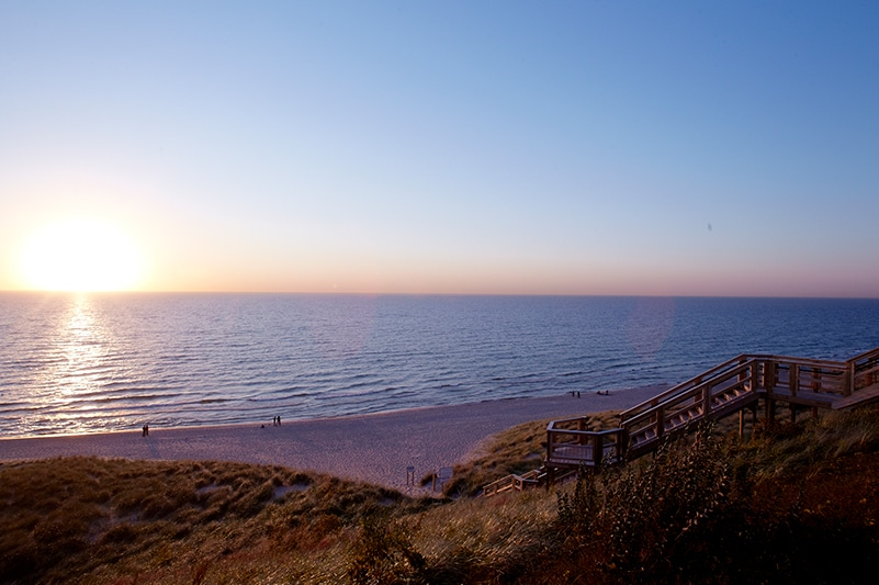 Sunset over the beach at Lake Michigan in Holland, Michigan
