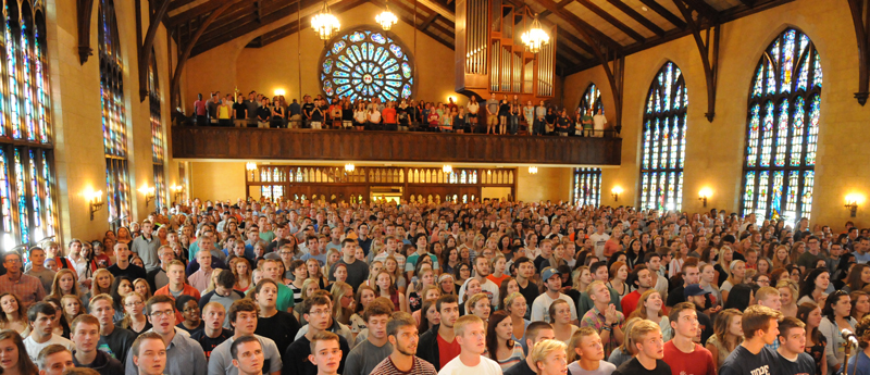 Dimnent Chapel is full of students for a service