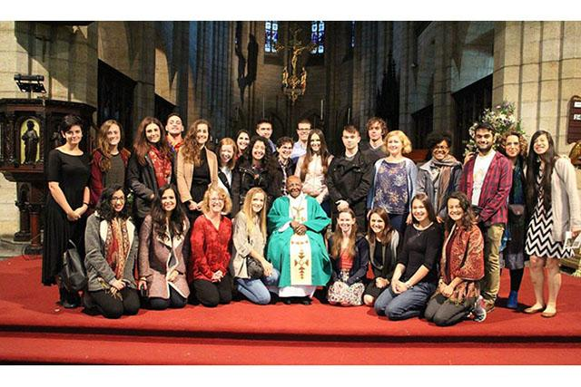 Students and faculty with Archbishop Desmond Tutu