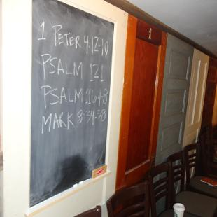 Scripture on blackboard