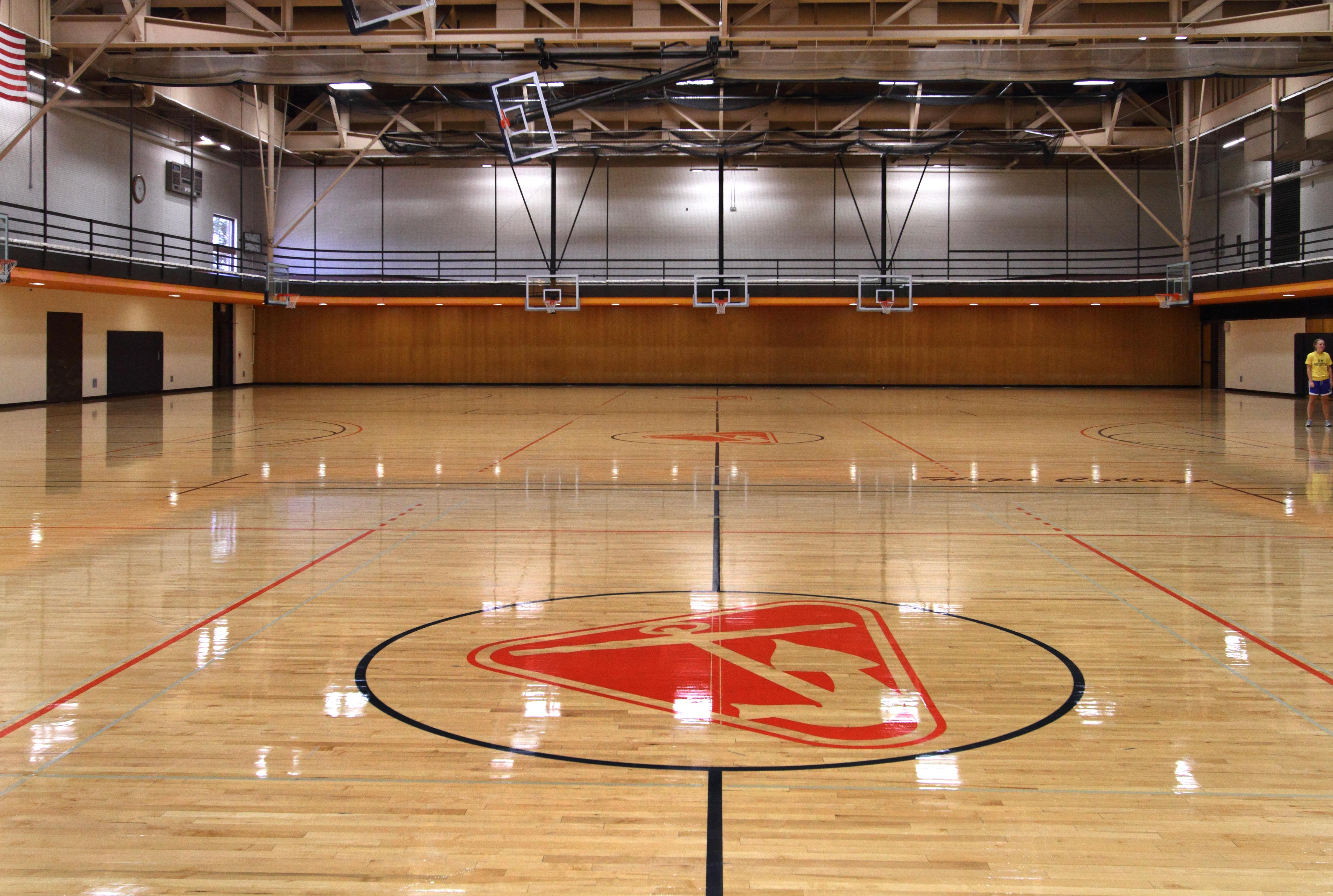 The Dow has three wood-surfaced basketball/volleyball courts.