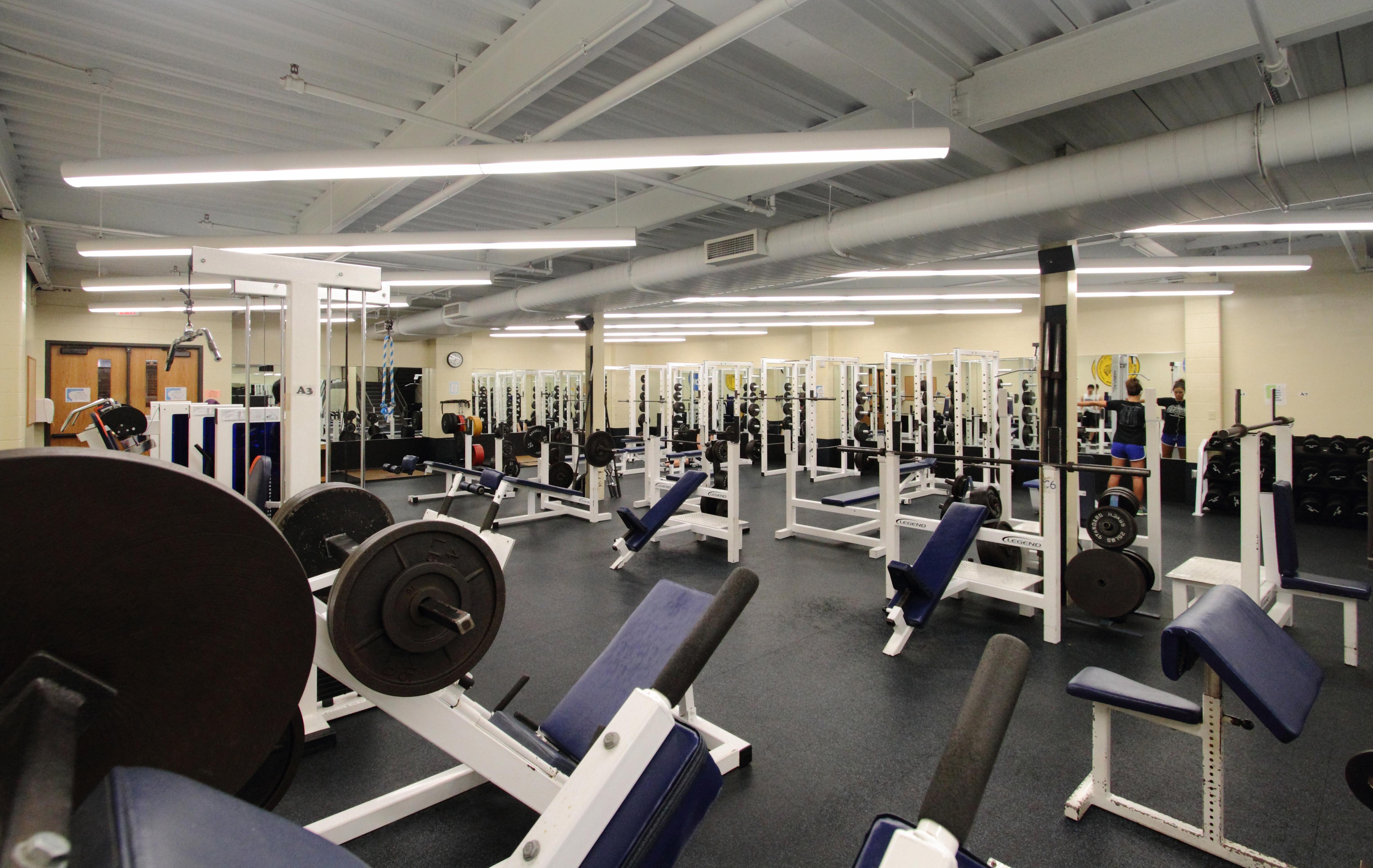 The weight room offers a wide variety of machines and weights.