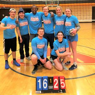 Spring 2018 less competitive coed volleyball: Better Than Sets defeated Sloppy Joes