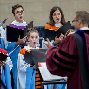The Chapel Choir performs during Convocation under the direction of Christopher Dekker.