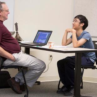 Darin Stephenson advises a new student.