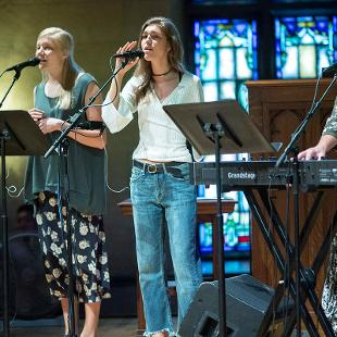 Worship Leaders sing songs during the first chapel of the season.