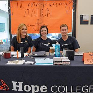 Student volunteers are available to answer questions at the Orientation Station in the Jim and Martie Bultman Student Center.