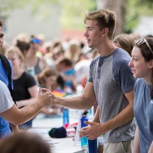 New students line up during the Activities Fair to sign up to participate in clubs and organizations for the upcoming year.