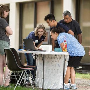 New students check into their residence hall.
