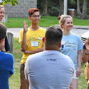 Student participate in an icebreaker game as they meet one another during a Step2Success program at Tunnel Park.