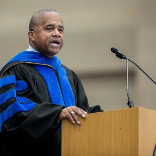 Dr. Fred Johnson speaks during the first Convocation of the new school year.