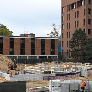 Forms have been erected for the waslls of  lower level of the Campus Ministries house and walls are starting to be poured.
