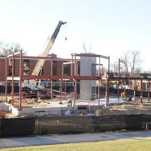 Steel is starting to distinguish the outline of the second story of the building.