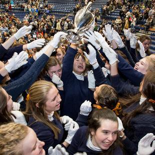 Class of 2022 song girls pass around the Nykerk Cup