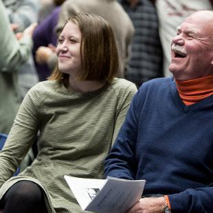 President Dennis Voskuil enjoying one of the Nykerk jokes.