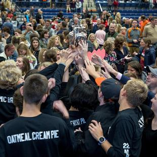 The winning class celebrates with the Nykerk Cup
