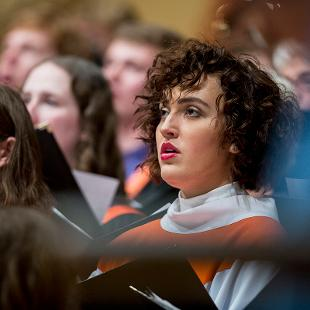 A close up of members in the Chapel Choir.