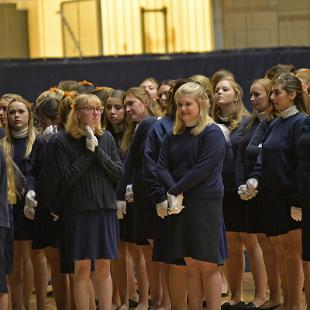 Even Year Song 2022 line up at the DeVos Fieldhouse prior to the start of the event.