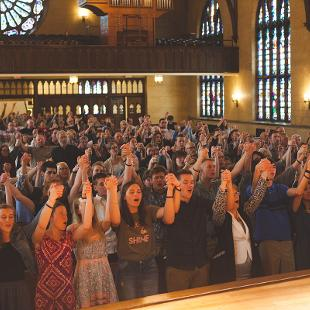 People worshipping in Dimnent Chapel