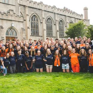Group photo of Awakening students, staff and interns in front of Dimnent Chapel