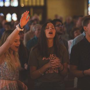 Awakening students worshiping in Dimnent Chapel