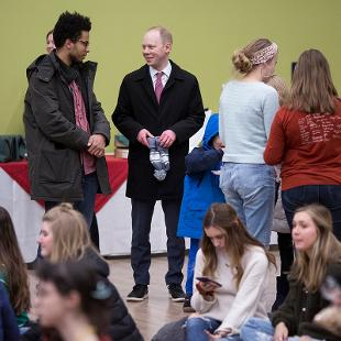 College students convene in the Bultman Student Center for snacks, music, and cookie decorating.