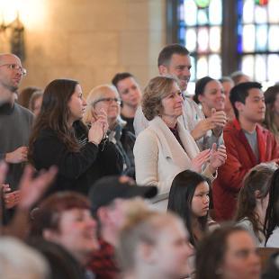 Audience members enjoy the performance of the Gospel Choir
