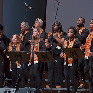 The Gospel Choir performs