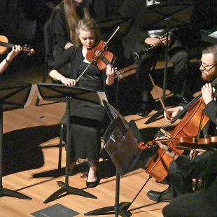 "The Accidentals String Quartet performs ""Presto con brio from String Quartet in D Major Op. 44 No. 1"" on violin, viola and cello."