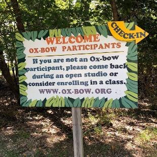 A sign detailing information for new Ox-Bow participants