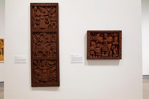 """Artworks by artist Lamidi Fakeye on display in the exhibition """"Resilience, Resistance and Revival in 20th-Century Yoruba Art"""""""