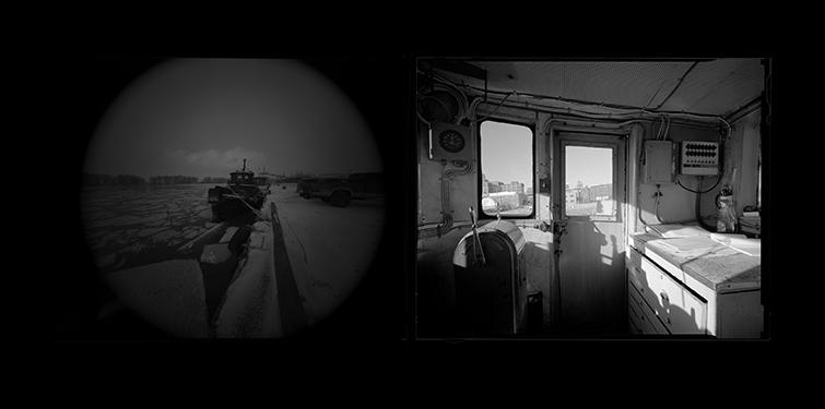 "Two photographs from the exhibition ""Tug,"" one in a circle frame and one in a square frame."