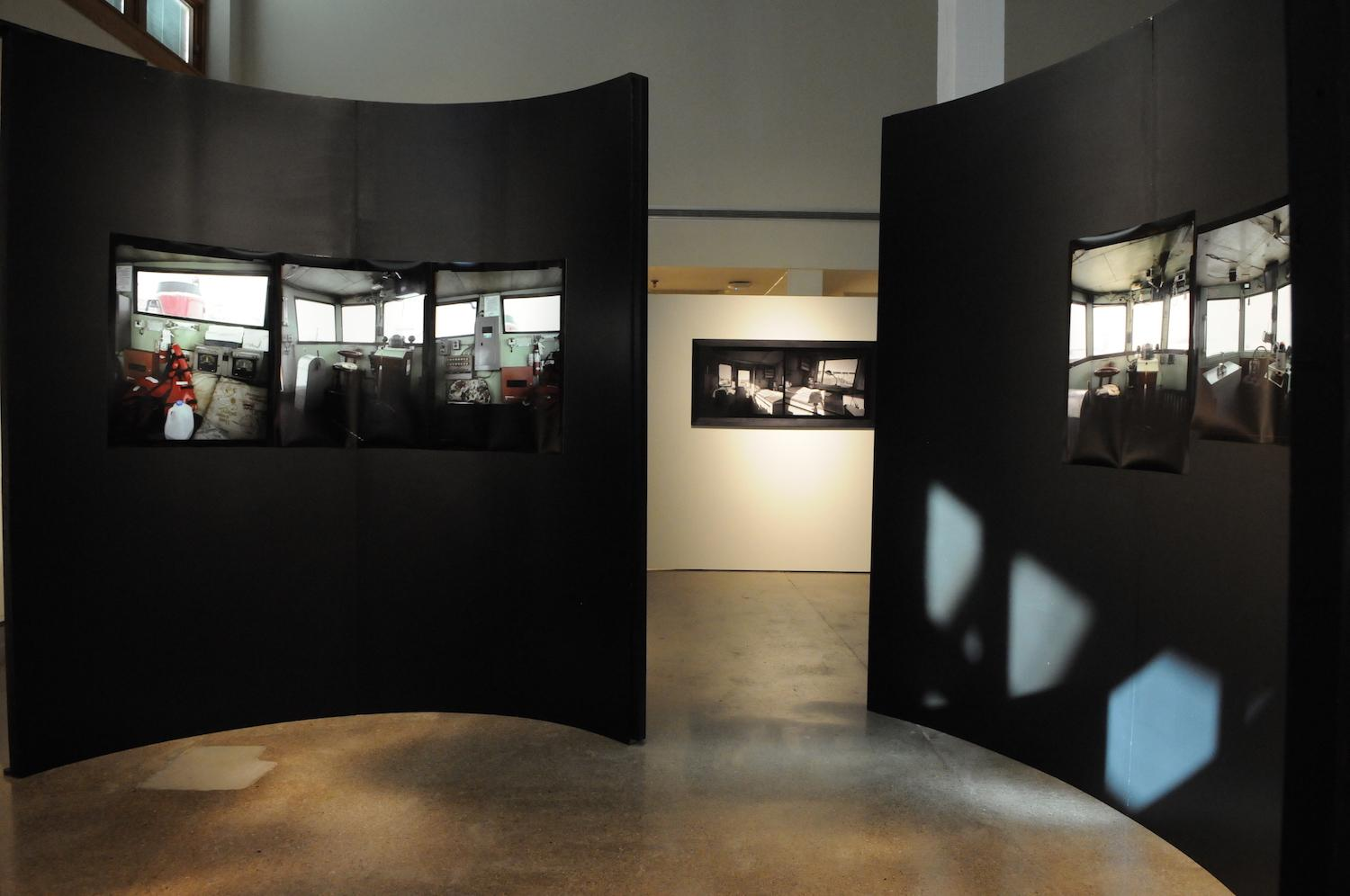 "View of walls inside De Pree Gallery during the exhibition ""Tug."""