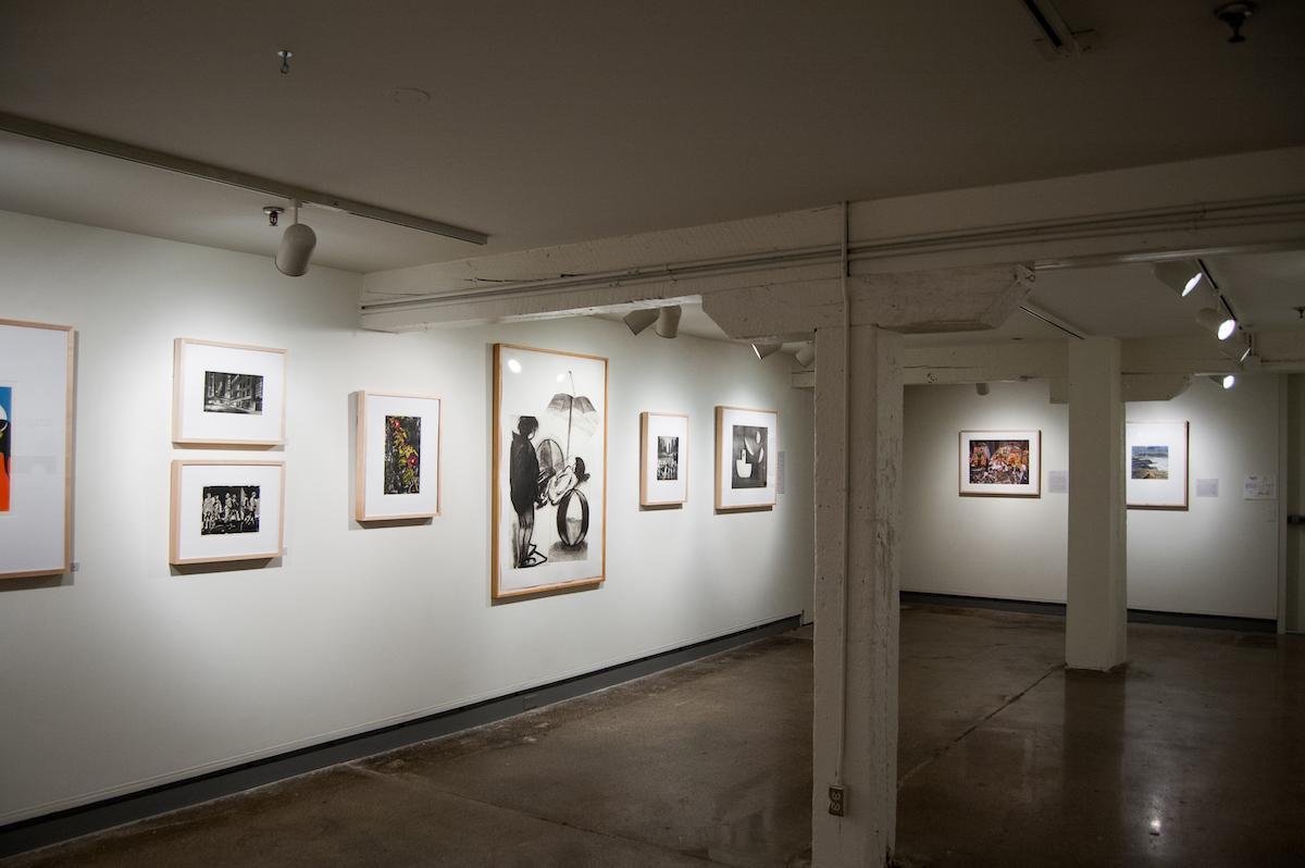 "View of artwork from the show ""Prints:Making"" on the De Pree Gallery walls."
