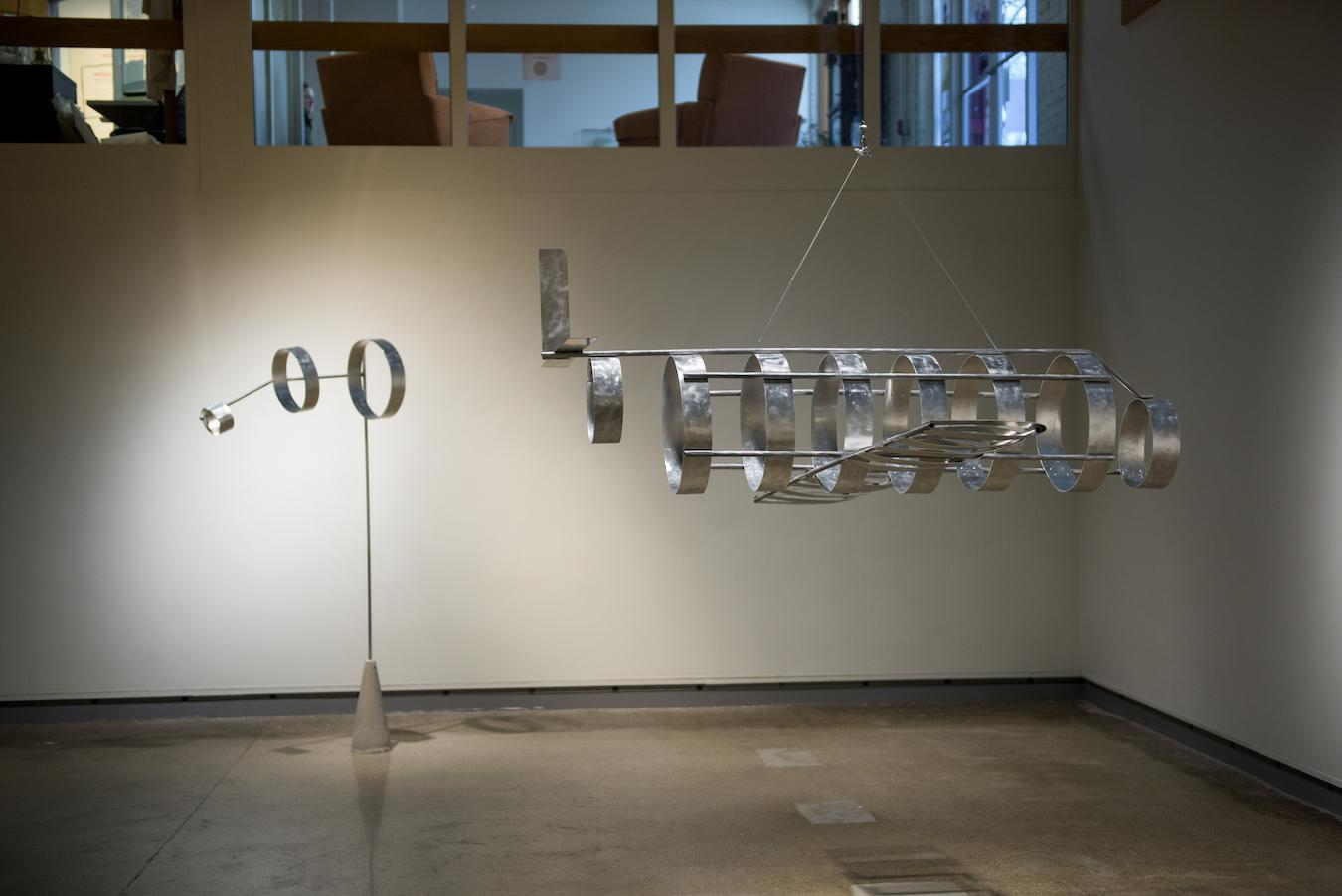 """View of artwork from the show """"Flight"""" in the De Pree Gallery."""
