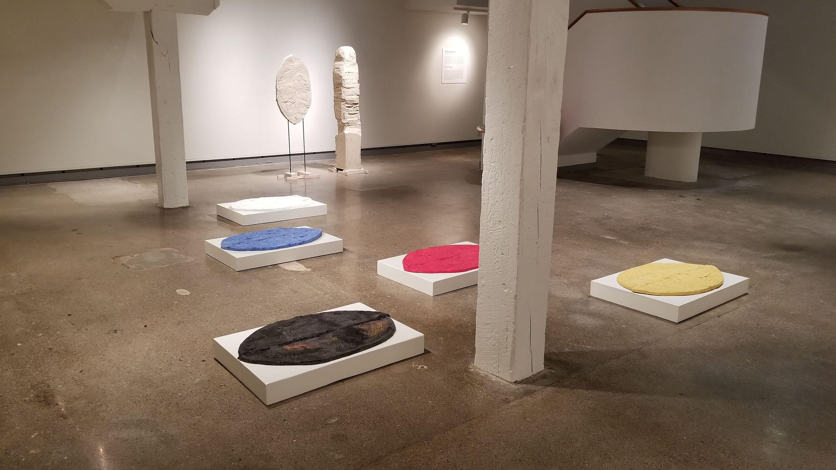 """View of artwork displayed on the floor during the show """"Flight."""""""
