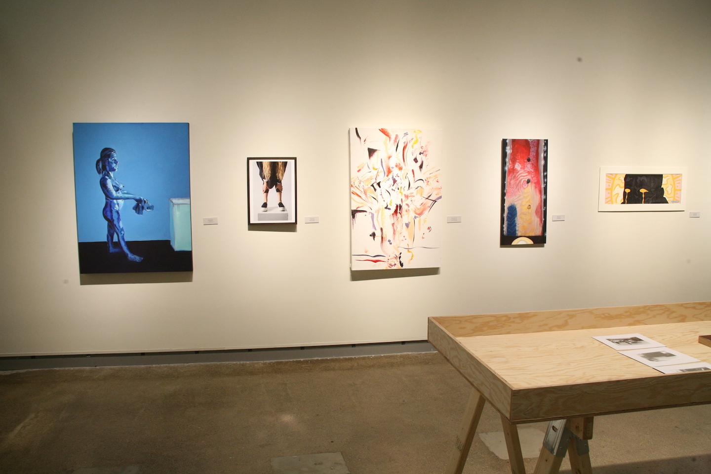 Overview of artwork in the De Pree Gallery from the 2016 Juried Student Show.
