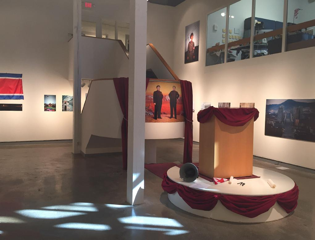 "View of work in the De Pree Gallery from the show ""No Motherland Without You."""
