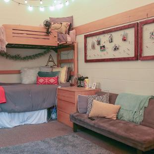 Two bed are arranged in a bunk bed style in a student room.