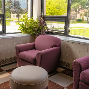 Common lounge area inside Gilmore Residence Hall