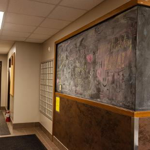 Entry way inside Gilmore Residence Hall