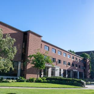 Exterior of Phelps Hall from the corner of 10th Street and Columbia Avenue