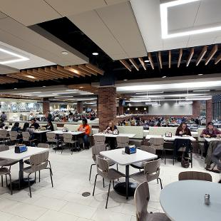 Empty dining hall showing some of the seating options.