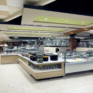 Empty dining hall showing some of the serving options.