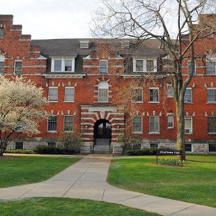 Exterior of the front of Voorhees Residence Hall from 10th Street