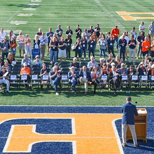 A view of the people attending the dedication event from the sky deck.