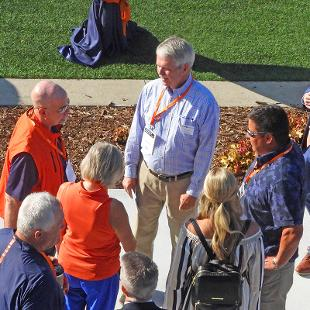 Jim Van Heest greets dedication participants