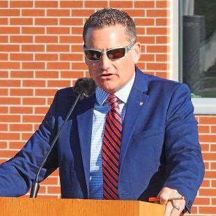 Peter Stuursma speaks during the dedication.