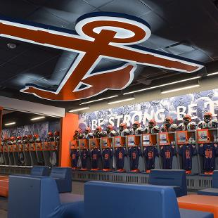 The Anchor logo is prominently displayed on the ceiling of the lockeroom.